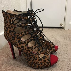 Leopard lace up heels